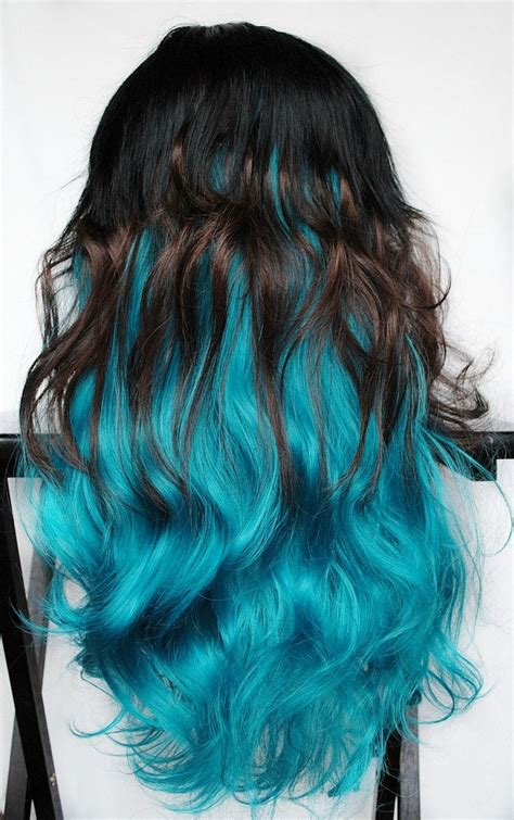 dye bottom hair tips still in style feline blue wig black brown turquoise teal hair