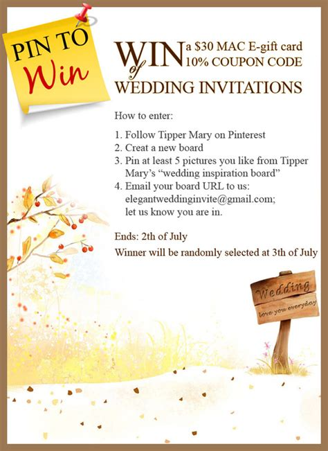 wedding invitation coupons pin to win mac e gift card and coupon code on elegantweddinginvites