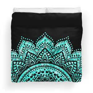 Black And Teal Duvet Cover Quot Black And Teal Mandala Quot Duvet Covers By Haroulita
