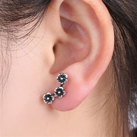 Comfortable Cartilage Earrings by Stylish Chic Three Flowers Cartilage Earrings Ear Stud