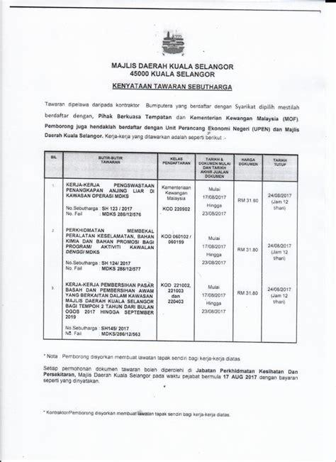 Harga Tu 2 by Sebut Harga Kerja Kerja Pembersihan Pasar Basah Dan