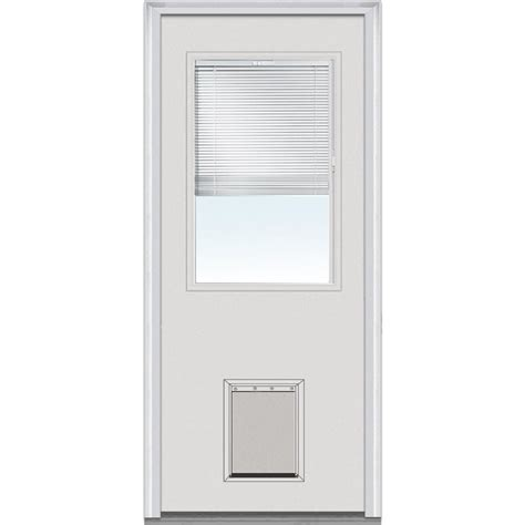 Exterior Doors With Pet Door Mmi Door 32 In X 80 In Blinds Right 1 2 Lite Classic Primed Steel Prehung Front