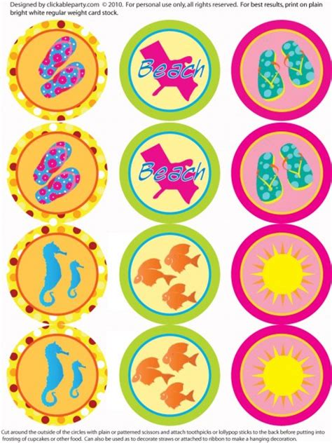 printable summer party decorations beach party printables freebies moms munchkins
