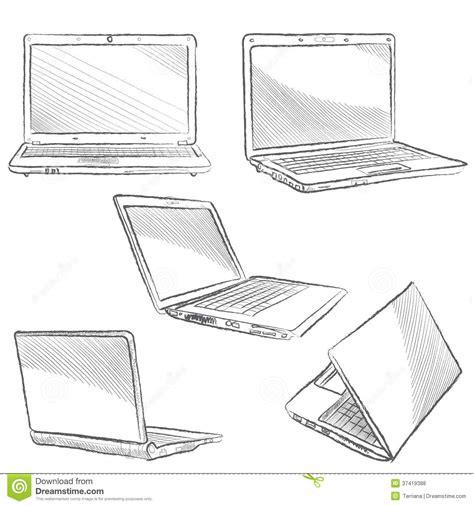 sketchbook computer laptop set notebook sketch icons stock vector