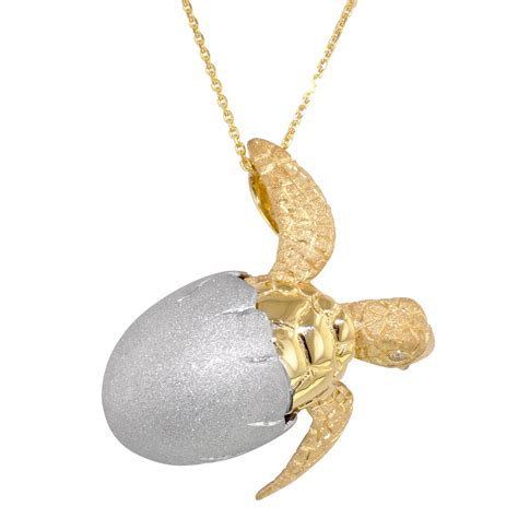 denny wong hatching sea turtle necklace in 14kt white and