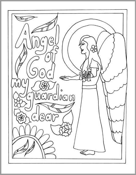 coloring page guardian angel prayer guardian angel prayer coloring sheet sketch coloring page
