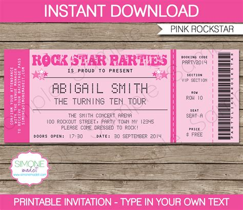 printable event tickets rockstar birthday party ticket invitations template pink