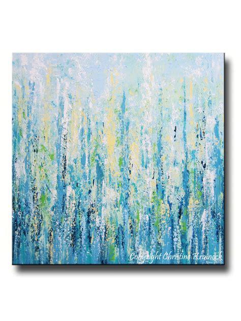 light blue wall decor original art abstract painting blue aqua textured large