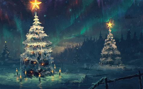 northern lights sky star night winter christmas tree snow