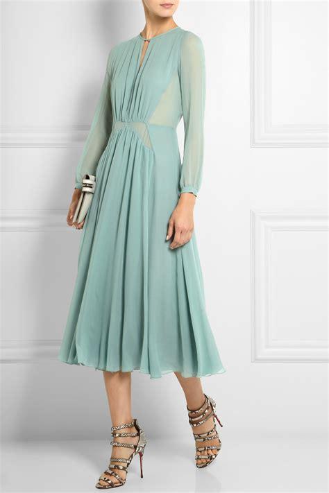 Midi Dress Burberry Benhur Murah burberry prorsum silk chiffon midi dress in green lyst