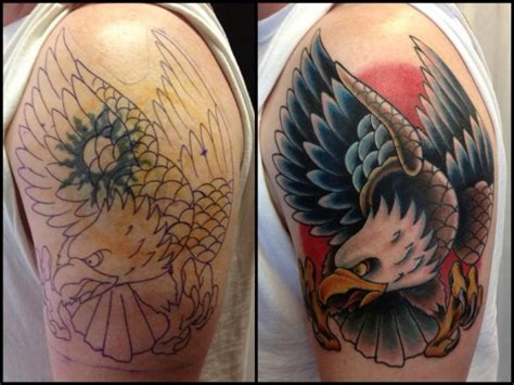 eagle tattoo cover up ideas shoulder eagle cover up tattoo by requiem body art