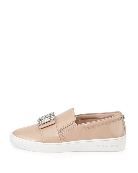 michael kors light pink shoes michael michael kors michelle faux patent jewel sneaker in