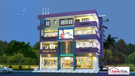Residential  Commercial Elevation   3d Front View Design