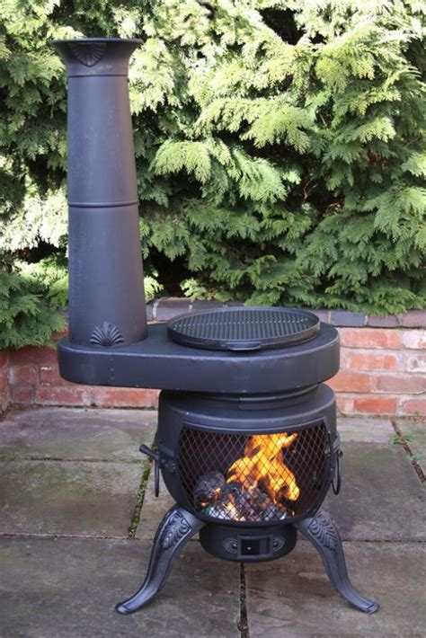 Patio Chiminea Cast Iron Chimenea Chiminea Stove Converts To Barbeque