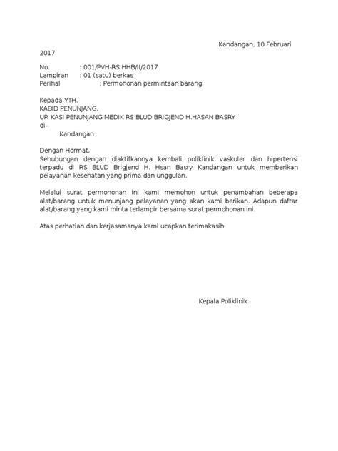 Surat Permintaan Barang by Contoh Surat Permintaan Barang