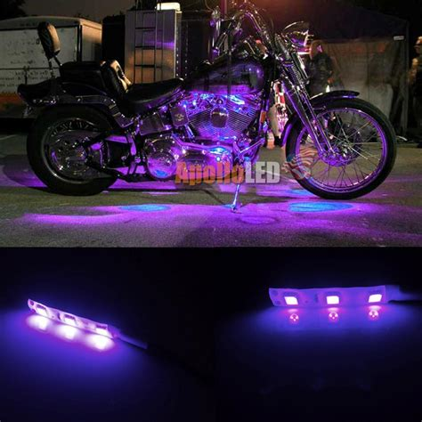 led glow lights for motorcycle 2x 5050 smd purple led strip lights for motorcycle under