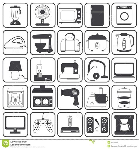 vintage home appliances icons stock vector illustration home appliance icons vector set stock vector image 35910660