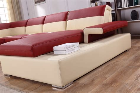 modern beige leather sectional sofa divani casa t367 modern beige leather sectional sofa