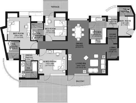 escape floor plan 2000 sq ft 3 bhk 4t apartment for sale in unitech escape sector 50 gurgaon