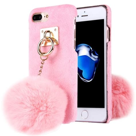Indocustomcase Cloth Cover For Iphone 7 Plus 8 Plus for iphone 7 plus plush cloth cover pc protective with chain pendant pink