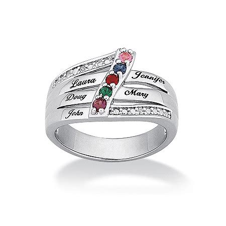 birthstone personalized family ring in platinum plated