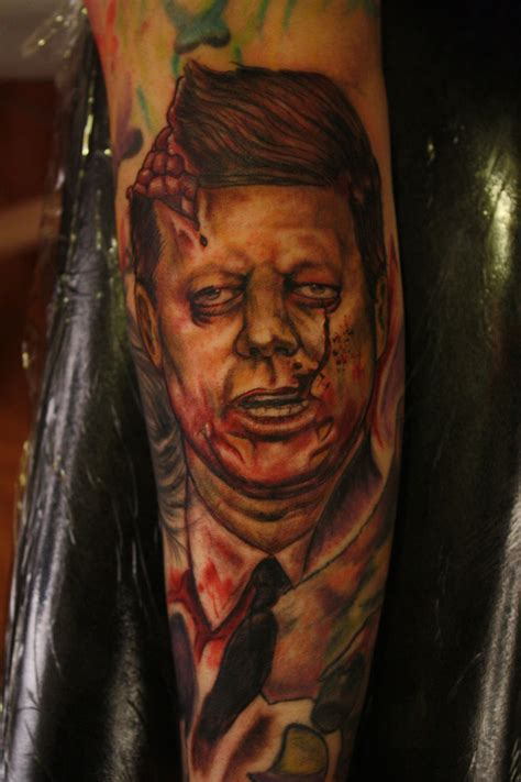 jfk tattoo tomtapit jfk blown away color work color portrait jfk