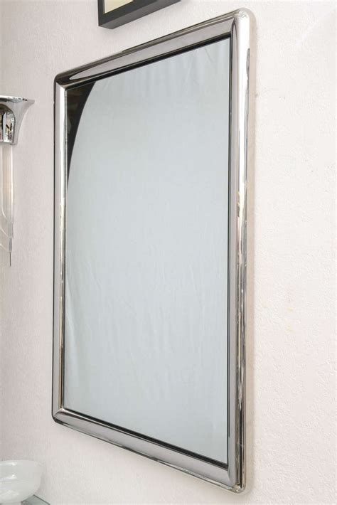 chrome framed bathroom mirror chrome framed wall mirror at 1stdibs