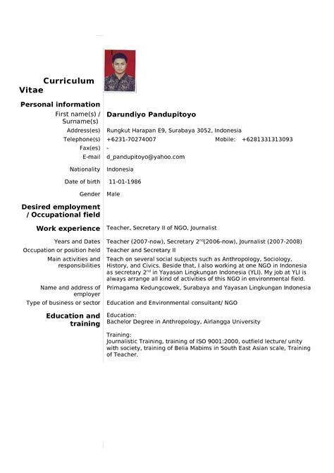 Curriculum Vitae Format Doc File Bahasa Indonesia cv eksempel norsk