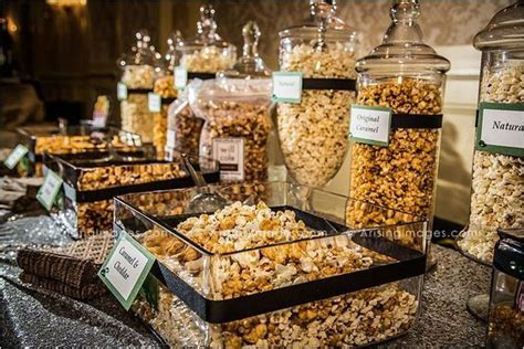 Very nice popcorn bar at a Wedding Reception! www