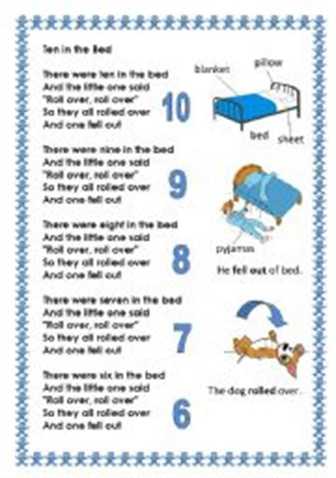 the bed song english worksheet counting song ten in the bed