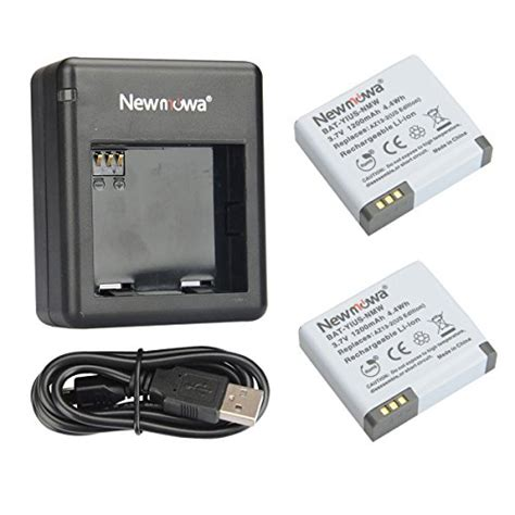 2 Battery Az 16 1 Usb Charger Dual Slot For Xiaomi Yi 2 4k free shipping newmowa az13 2 rechargeable battery 2 pack