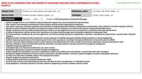 Compensation And Benefits Manager Sle Resume by Hr Compensation And Benefits Manager Title Docs