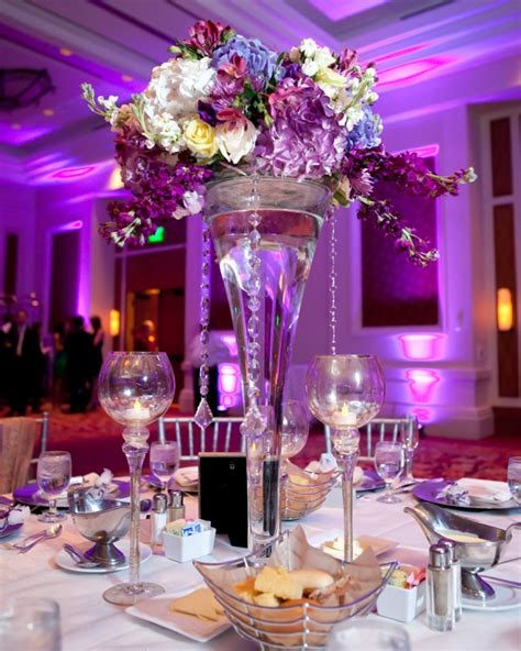 Romantic Photos of Tall Purple Wedding Centerpieces