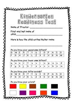 sle of kindergarten test kindergarten roundup readiness test by n miller tpt