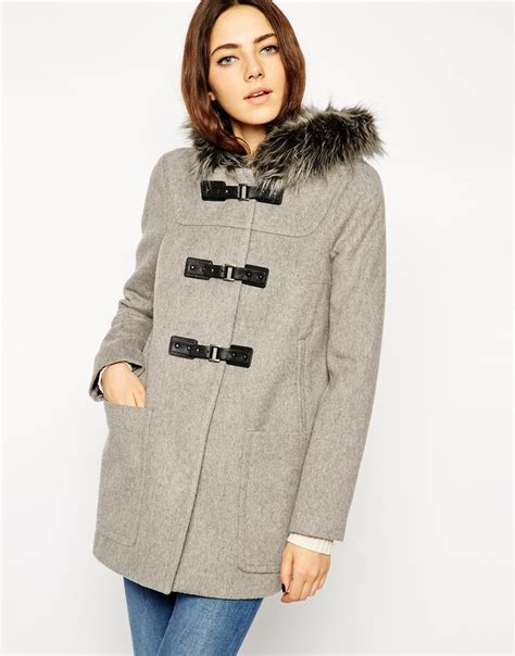 Coat Premium asos premium duffle coat with faux fur in gray lyst