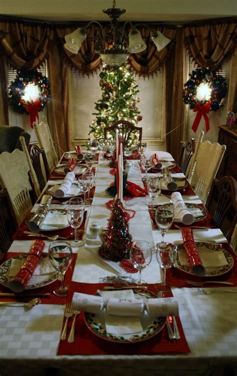 christmas dinner table placemats were gift bags from the