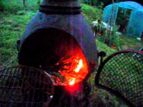 Lighting A Chiminea burning fresh cedar doovi