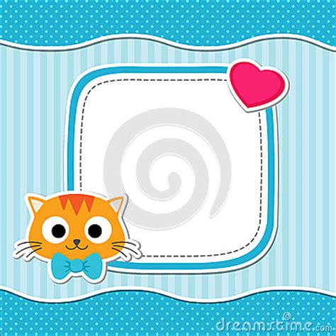 baby shower place card template free blue card with cat stock vector image 56900865