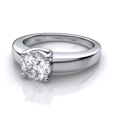 low profile solitaire engagement ring in 14k