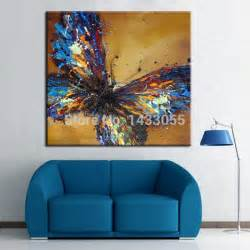 Decor Painting by Handmade Abstract Adorable Blue Butterfly Art Oil Painting