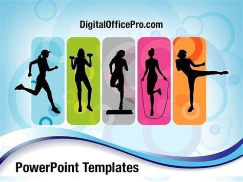 ppt templates free download exercise fitness silhouettes powerpoint template backgrounds
