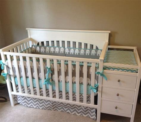 aqua and gray elephant chevron crib bedding crib bedding