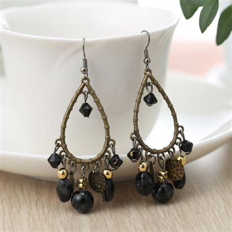 Bead Earring Designs Handmade - black beaded earrings bead dangle earring handmade