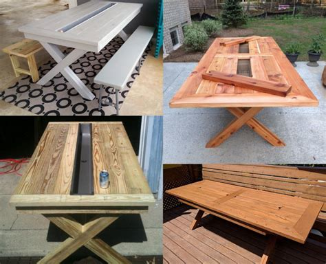 patio table with built in cooler 13 diy cooler table plans to build for outdoor
