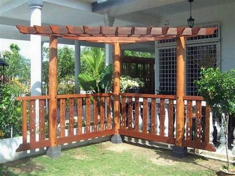 Living Room Decor Ideas wood corner pergola shade attached to house for patio