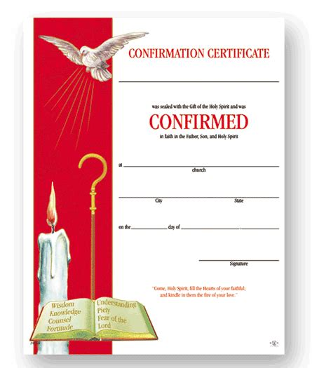 confirmation certificate template sacco church office supplies