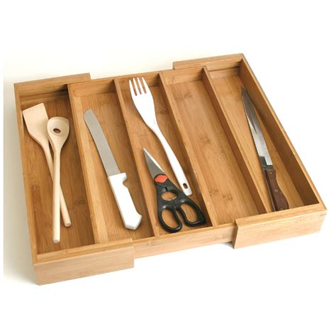 bamboo expanding utensil drawer organizer in kitchen