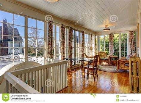 Furnished Sunrooms Bright Sunroom With Wicker Furniture Stock Photo Image
