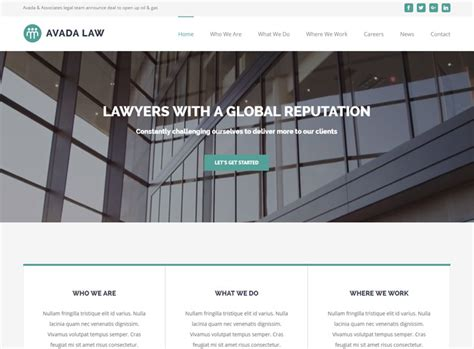 avada theme law 10 best lawyer wordpress themes for attorneys law firms 2017