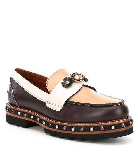 brown coach loafers lyst coach lenox loafer in brown